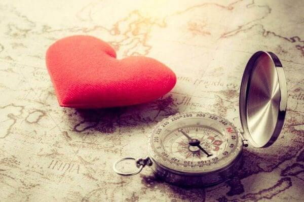 Eine Karte, auf der ein Herz und ein Kompass liegen