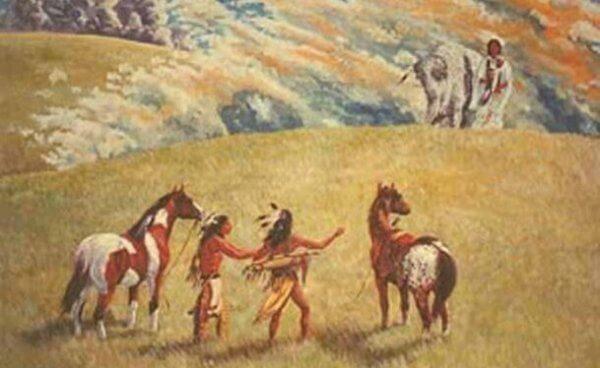 Zwei Lakota sehen die Weißer-Büffel-Frau.