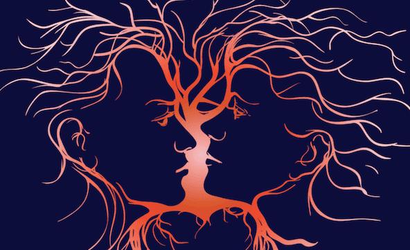 Profil eines Paares, das sich anschaut