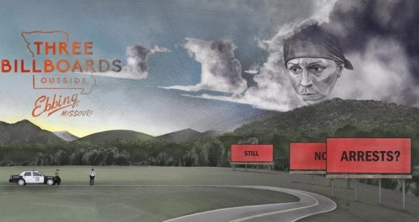 "Ein Plakat für den Film ""Three Billboards Outside Ebbing, Missouri"""