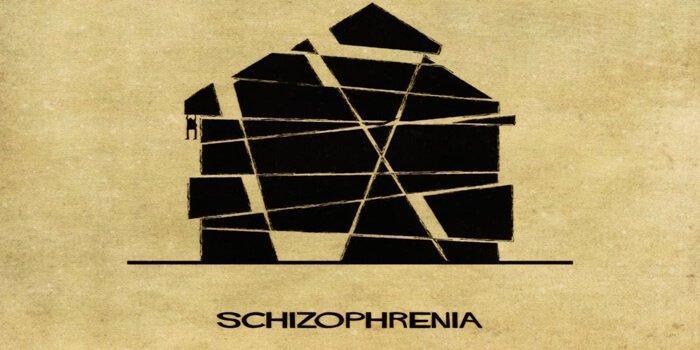 Schizophrenie vom italienischen Architekten Balbina dargestellt.