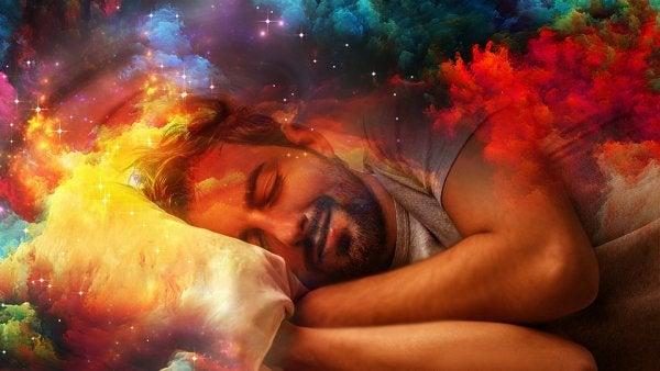 Schlafender Mann in bunter Traumwelt