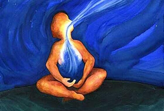 Mensch atmet tief ein und aus
