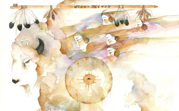 Eine Zeichnung der Weißer-Büffel-Frau
