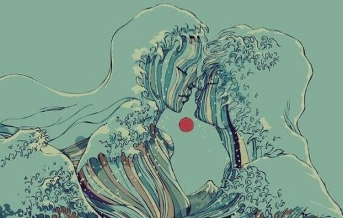 Wellen formen das Bild eines Paares