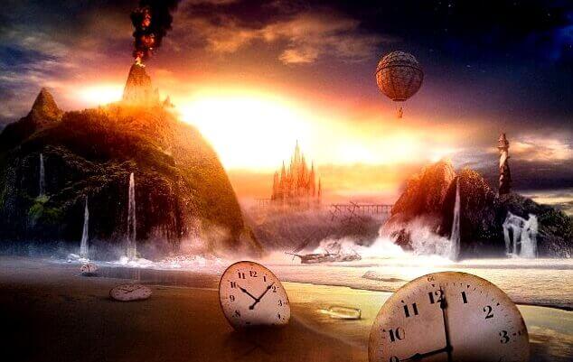 Fantasiebild mit mehreren Uhren