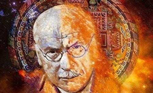 Carl Gustav Jung vor abstraktem Hintergrund
