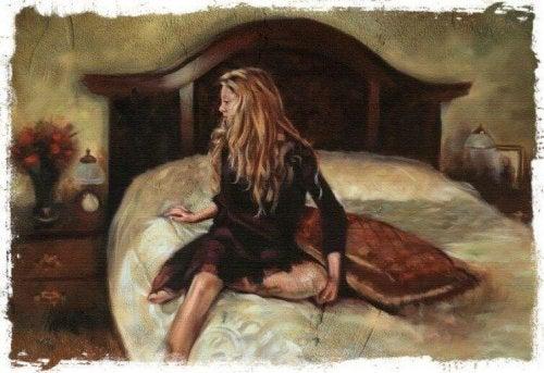 Frau im Bett mit emotionaler Vergiftung