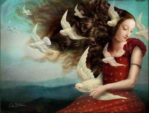 Frau mit langem Haar und Vögeln