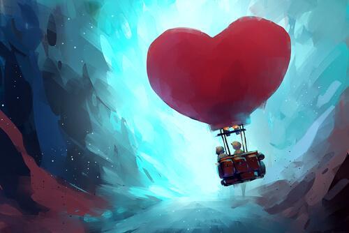 Zwei gezeichnete Menschen in einem Herzheißluftballon