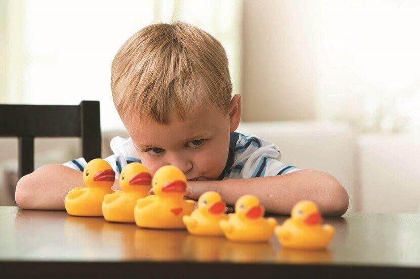 Junge schaut auf viele voreinander aufgestellte Enten