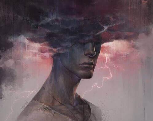 Mann mit Kopf in schwarzer Wolke
