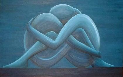 Sich umarmendes Paar bildet eine Brezel
