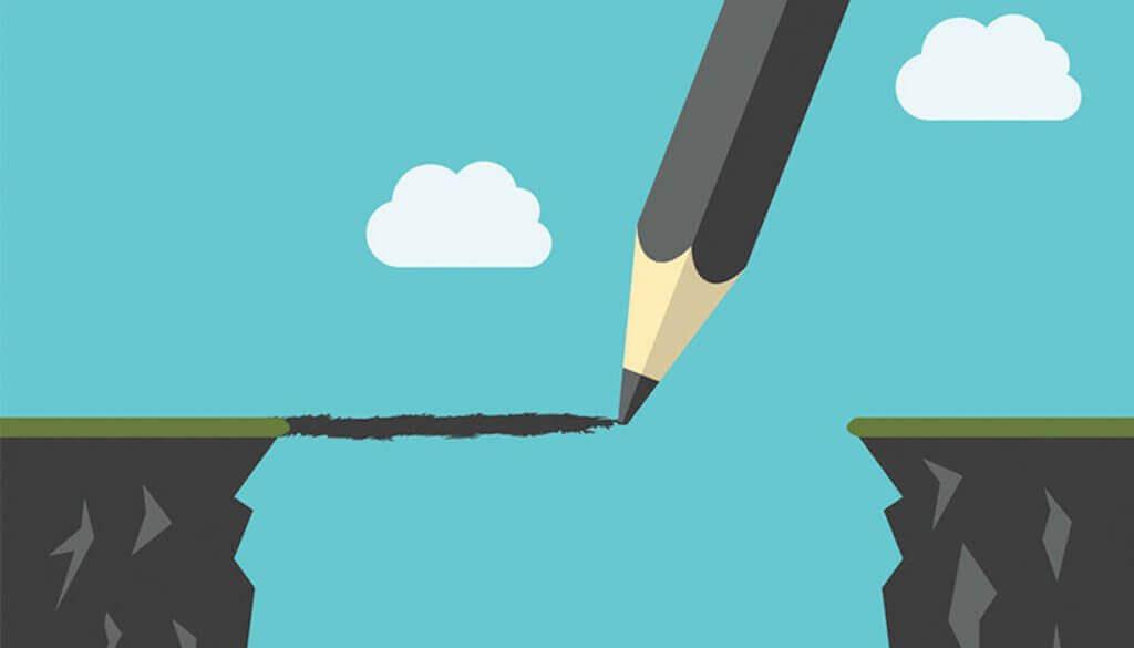 Stift, der eine Brücke zeichnet