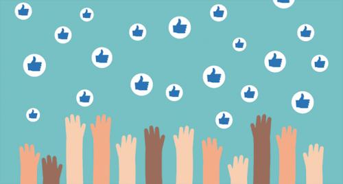 Viele Hände greifen nach dem Facebook-Like-Button.