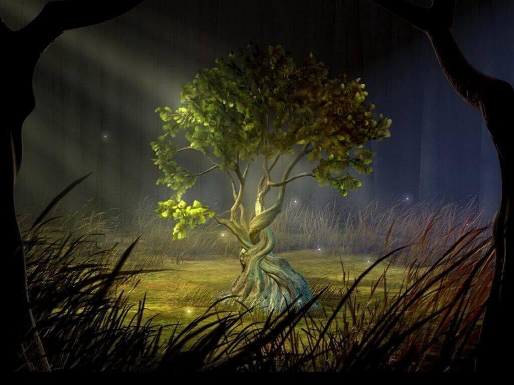 Baum mit eingedrehten Wurzeln