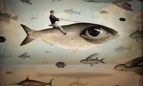 Mann reitet auf einem Fisch