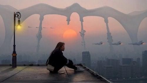 Frau in utopischer Zukunft