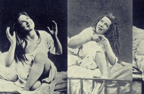 Frau mit Hysterie
