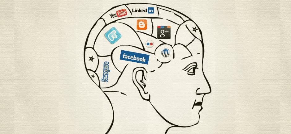 Gehirn, das voll ist mit verschiedenen sozialen Netzwerken