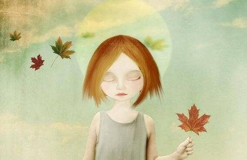 Illustration eines Mädchens mit Laub
