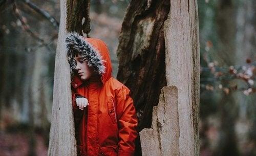Junge mit roter Jacke in hohlem Baumstamm