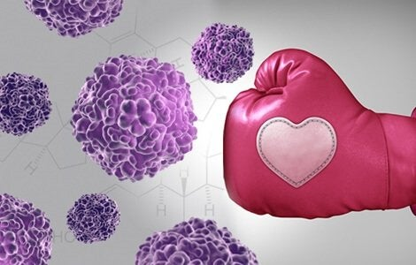 Krebszellen und Boxhandschuh