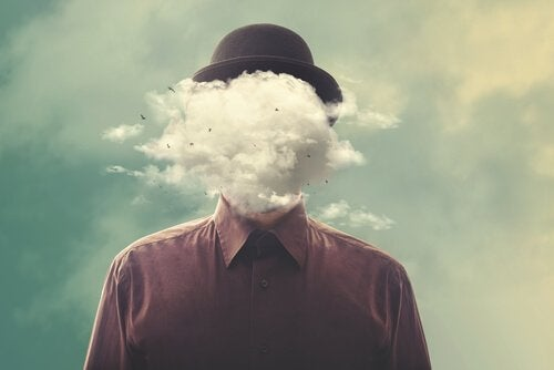 Mann mit Wolke als Kopf als Symbol dafür, den Geist von allem trennen zu müssen