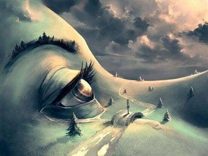 Surreales Bild zeigt Landschaft auf Gesicht