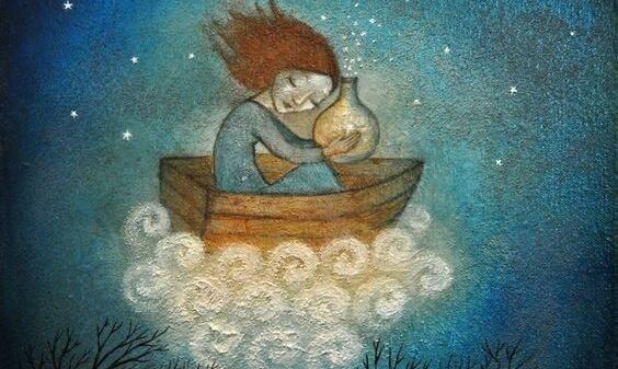 Mädchen allein in einem kleinen Boot