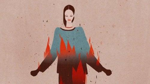 Frau versucht, mit Wut umzugehen