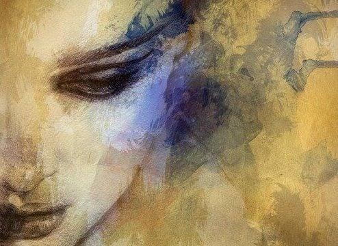 Zeichnung einer Frau mit Angst