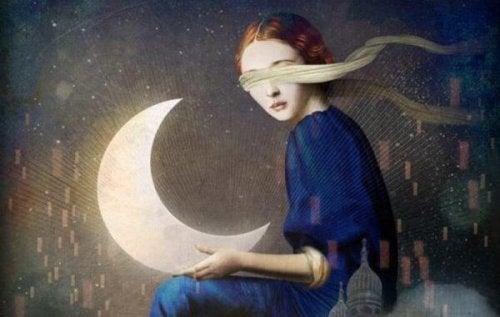 Frau mit Mond und verbundenen Augen