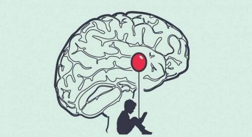 Die Amygdala, symbolisch durch einen roten Luftballon dargestellt