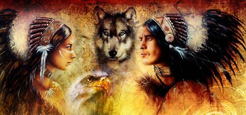Amerikanische Ureinwohner mit einem Wolf