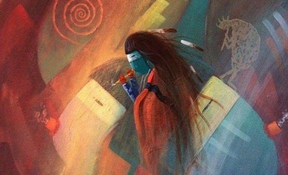 Amerikanischer Ureinwohner gemalt in bunten Farben