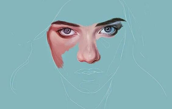 Gezeichnete Augen einer Frau