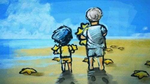 Junge sammelt gemeinsam mit dem Mann Seesterne ein