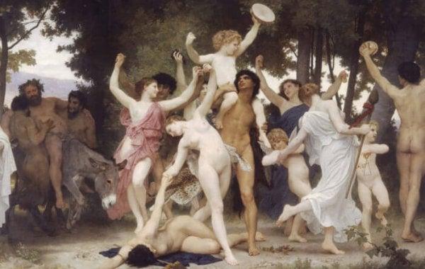 Nacktes Tanzen und viel Vergnügen auf einem historischen Gemälde