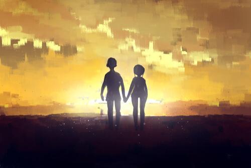 Zeichnung eines Paares, das Hand in Hand in den Sonnenaufgang geht