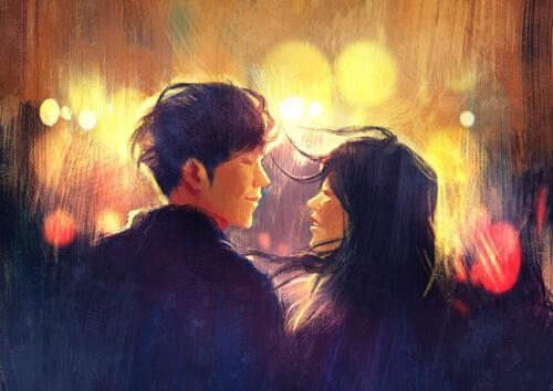 Zeichnung eines Paares, das sich in einer Straße ansieht