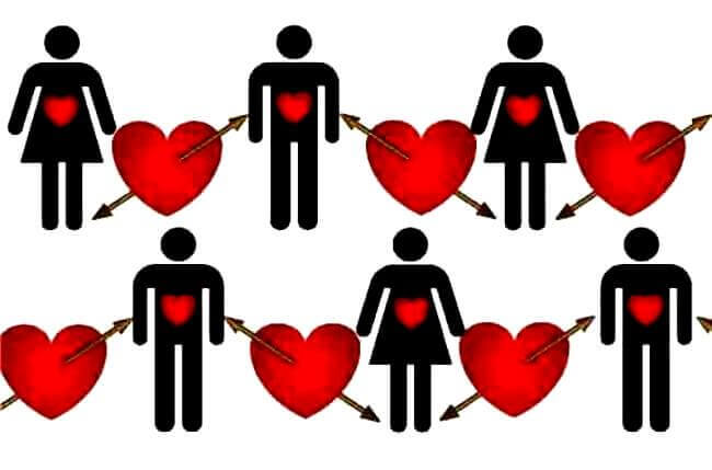 Viele rote Herzen mit mehreren Frauen und Männern