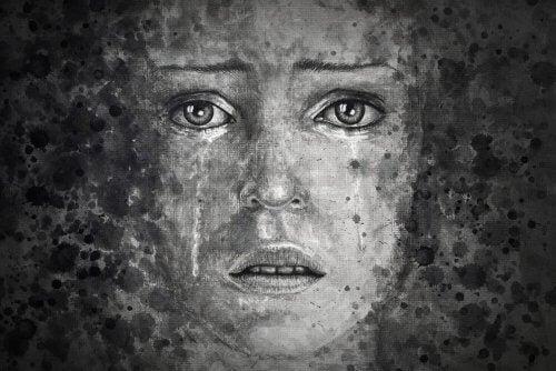Eine Zeichnung eines traurigen Mädchengesichts