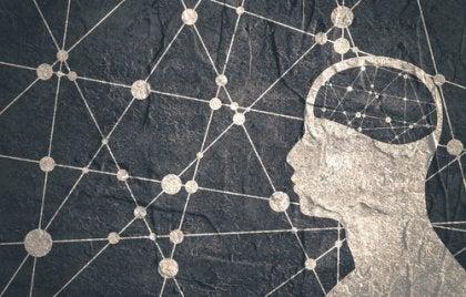 Profil eines Mannes vor einem Hintergrund, das ein Netzwerk darstellt