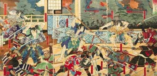 Samuraikampf aus der japanischen Feudalzeit