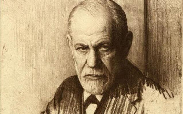 Eine Zeichnung, die Sigmund Freud zeigt