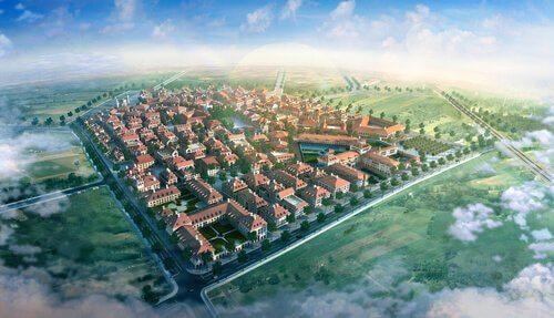 Kleinstadt von oben betrachtet