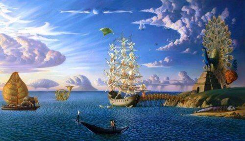Ein Bild, das eine surreale Traumlandschaft mit einem Schiff und Pfau zeigt