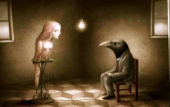 Ein zahmer Vogel mit Frauengesicht steht für den Galatea-Effekt.