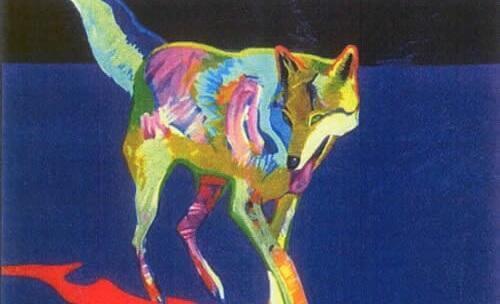 Wolf in bunten Farben